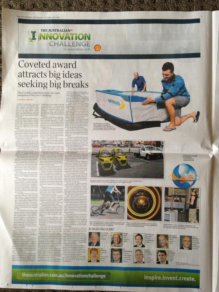 Quickboats on The Weekend Australian – Innovation Series