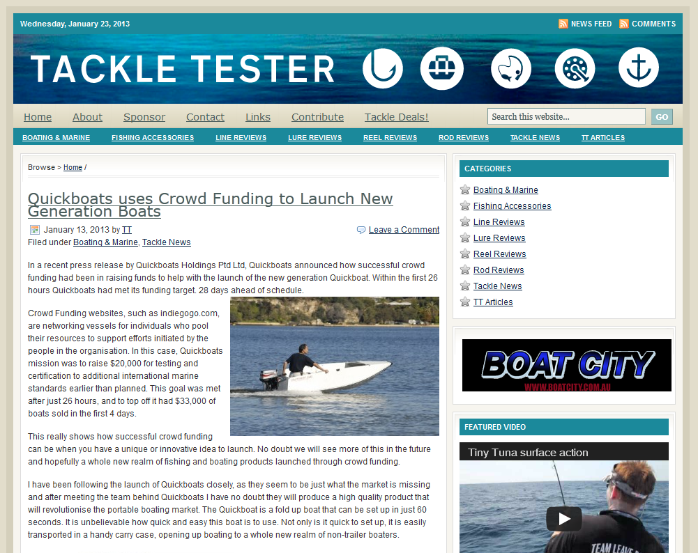 Quickboats on TackleTester.com