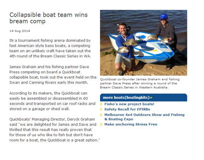 Collapsible Boat Team Wins Bream Competition